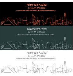 cleveland event banner hand drawn skyline vector image vector image