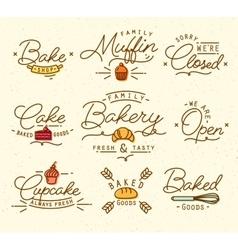 Flat bakery symbols brown vector image