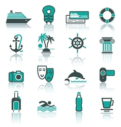 travel vacation recreation icons set vector image vector image