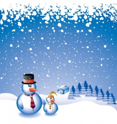 two snowmen vector image vector image