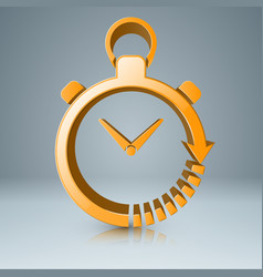 yellow clock icon with white reflect vector image