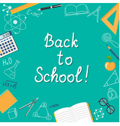 banner back to school on the turquoise vector image vector image