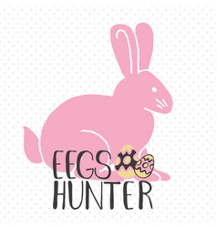 easter greeting card - eggs hunter vector image vector image