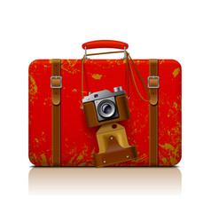 red vintage threadbare suitcase with a retro vector image vector image