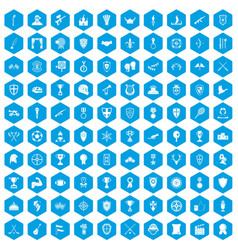 100 trophy and awards icons set blue vector
