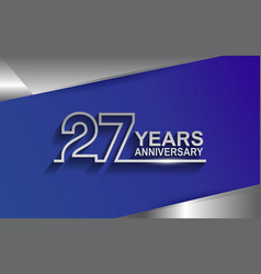 27 years anniversary silver color line style vector