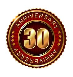30 years anniversary golden label vector image