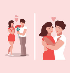 a man in love gives flowers to a woman vector image
