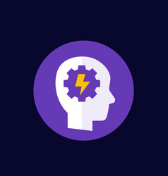 Ability icon with head and gear vector