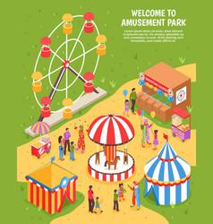 Amusement park isometric poster vector