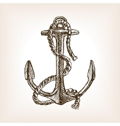 Anchor and rope sketch style vector