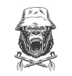 Angry gorilla head in panama hat vector