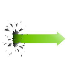 Arrow pierced through wall vector