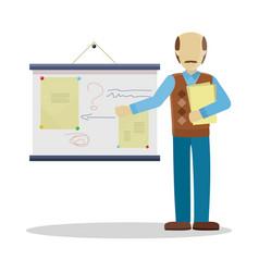 Bald lecturer making a presentation vector
