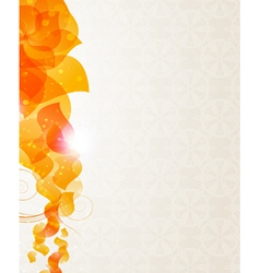 Beige background with orange petals pattern vector
