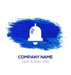 bell icon - blue watercolor background vector image