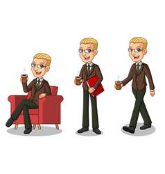 blonde businessman making a break vector image