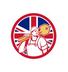 British locksmith union jack flag icon vector