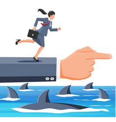 businesswoman running on hand over shark in water vector image