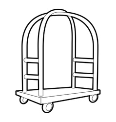 Cart in hotel icon outline style vector image