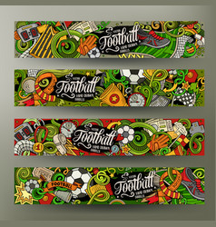 Cartoon doodles football horizontal banners vector