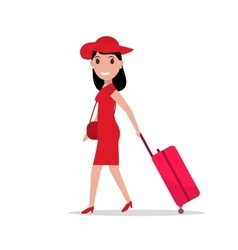 cartoon fashion woman with travel luggage vector image