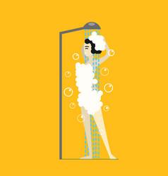 cartoon woman in foam taking shower vector image