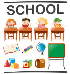 children studying and school objects vector image