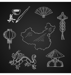 Chinese culture and art icons around a map vector