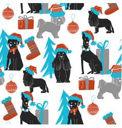 Christmas dog seamless pattern vector
