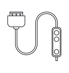 Computer cable connection plug thin line vector