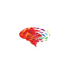 Creative colorful pixel polygonal brain logo vector