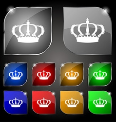 Crown icon sign Set of ten colorful buttons with vector