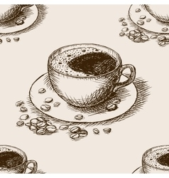 Cup of coffee hand drawn seamless pattern vector