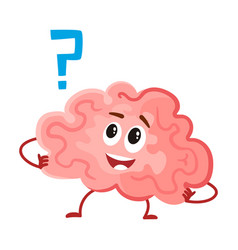 Cute and funny smiling human brain character vector