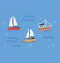 cute yachts boats and ships with sails floating vector image