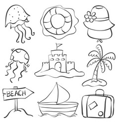 Doodle of summer object hand draw vector