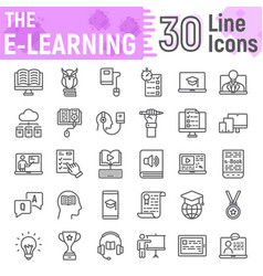e learning line icon set online education symbols vector image