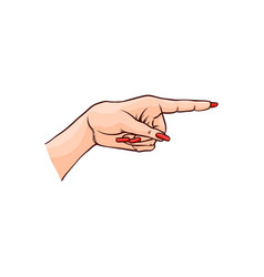 female hand pointing or vector image