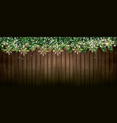 fir branch with neon lights golden garland vector image