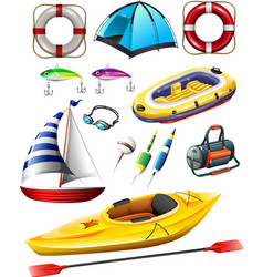 Fishing equipments and boats vector