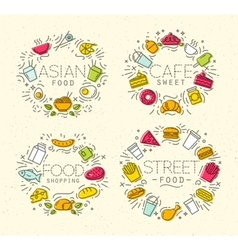 Food flat monograms in retro vector image