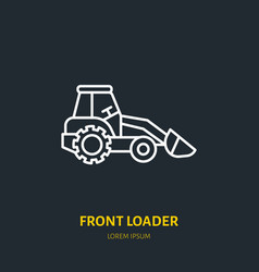 Front loader flat line icon transportation vector