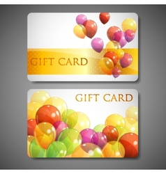 Gift cards with multicolored balloons vector