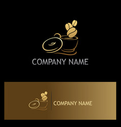 Gold coffee cup logo vector