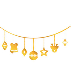 gold differents balls hanging to christmas vector image