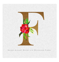 Golden letter f watercolor floral background vector