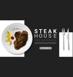 Grilled beef t-bone steak and spices background vector