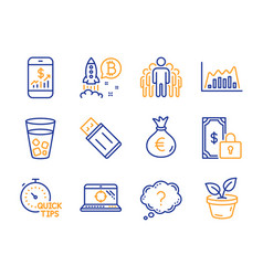 Group bitcoin project and seo laptop icons set vector