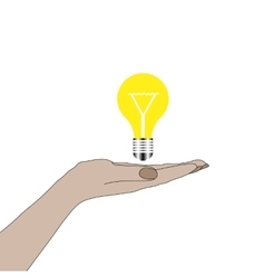 Hand holding lightbulb idea vector image